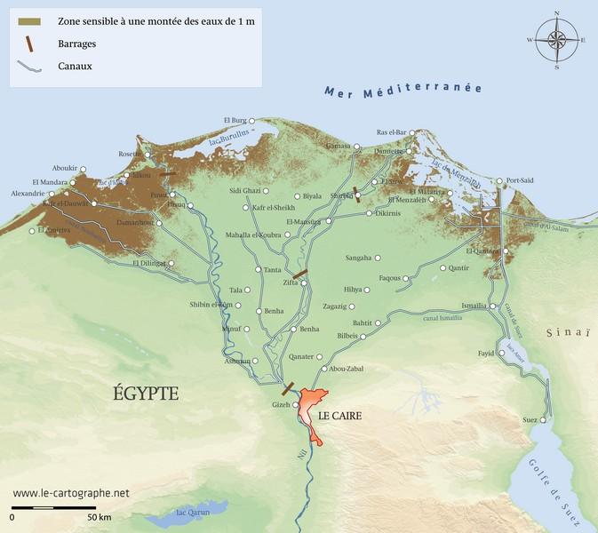 Carte Afrique Nil.Egypte La Montee Des Eaux Dans Le Delta Du Nil