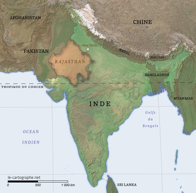 Carte De Linde De Louest.Inde Le Rajasthan