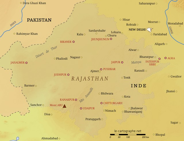 Carte Routiere Du Rajasthan.Inde Le Rajasthan