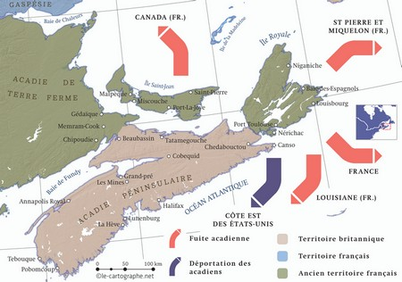 Carte : 1755, l'Acadie et le grand dérangement