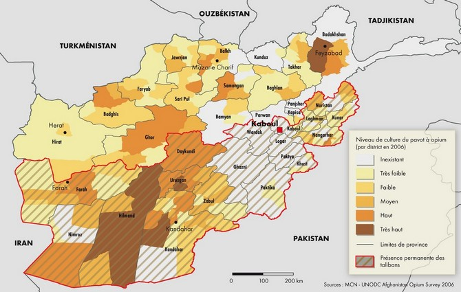 Carte - la culture du pavot à opium en Afghanistan, par district en 2006