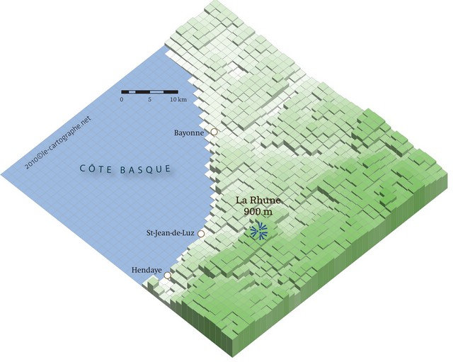 IsoCarte : Le pays Basque en relief