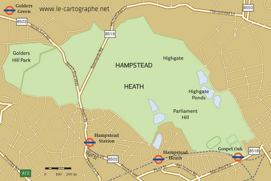 Carte : Londre et le quartier d'Hampstead