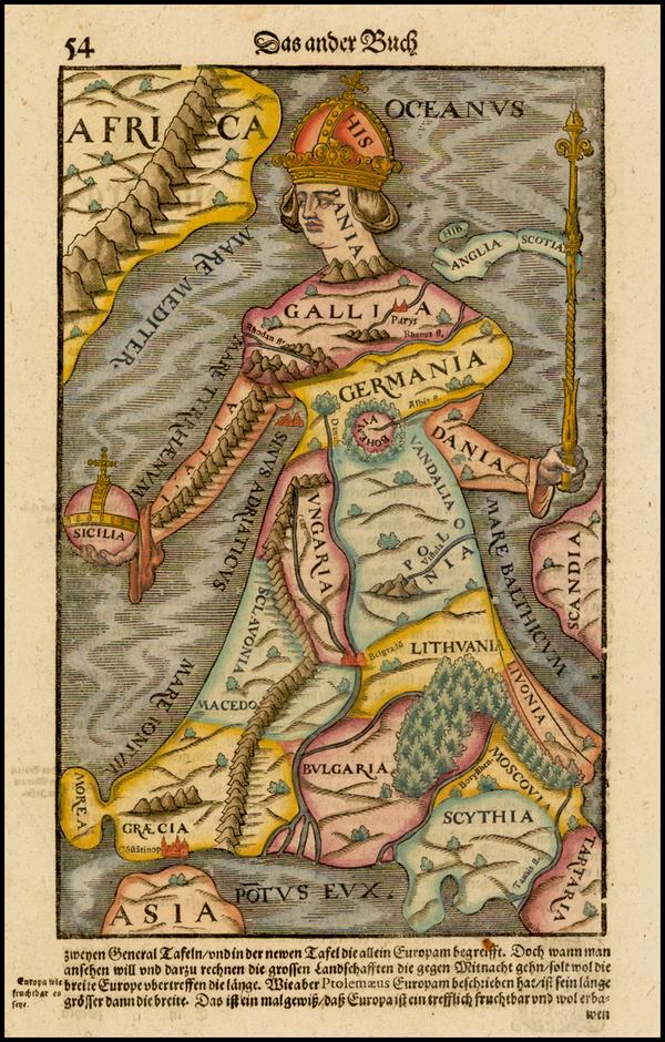 Carte : La dame Europe de S. Münster (1556)
