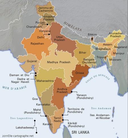 Carte Geographique Indien.Inde Fiche D Identite
