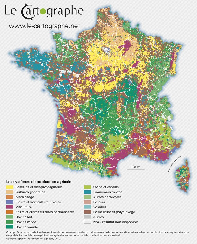 Carte : Les système de production agricoles en France