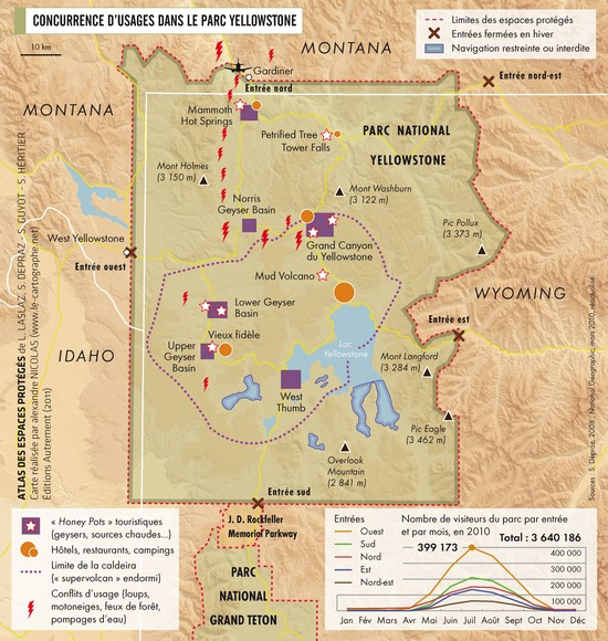 Carte : Concurrences d'usage dans le parc Yellowstone