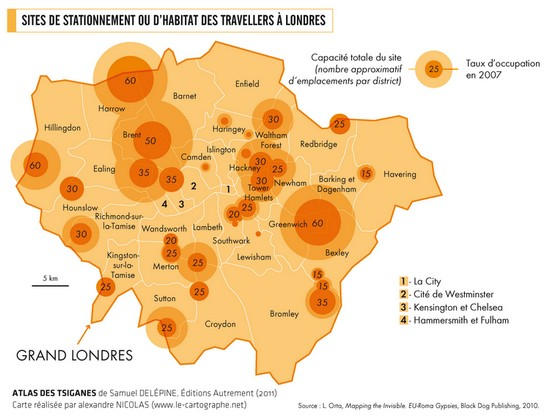 Carte : Sites de stationnement ou d'habitat des travellers à Londres