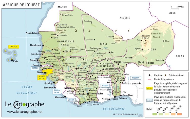 Carte De Lafrique Francophone.Monde Francophone
